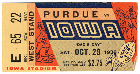 1938 Purdue Ticket