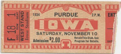 1934 Purdue Ticket