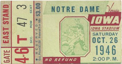 1946 Notre Dame Ticket