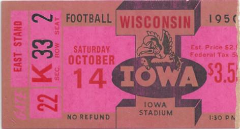 1950 Wisconsin Ticket