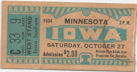 1934 Minnesota Ticket