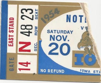 1954 Notre Dame Ticket