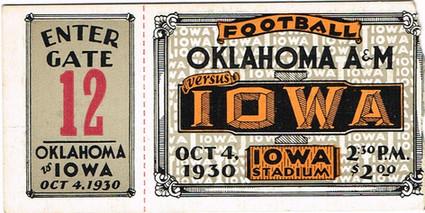 1930 Oklahoma A&M Ticket