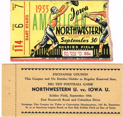 1933 Northwestern @ Soldier Field Ticket