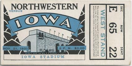 1931 Northwestern Ticket