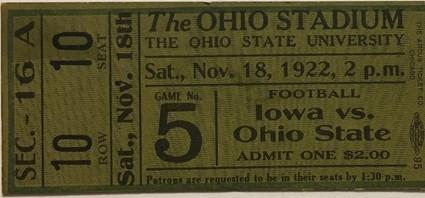 1922 @ Ohio State Ticket