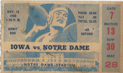 1940 @ Notre Dame Ticket