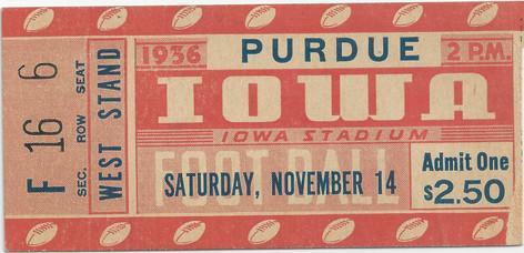 1936 Purdue Ticket