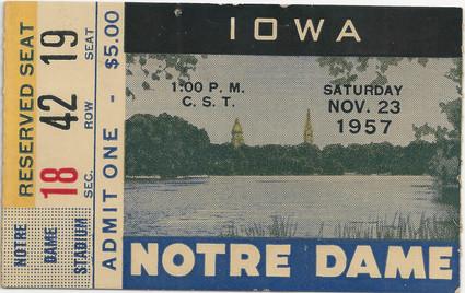 1957 @ Notre Dame Ticket