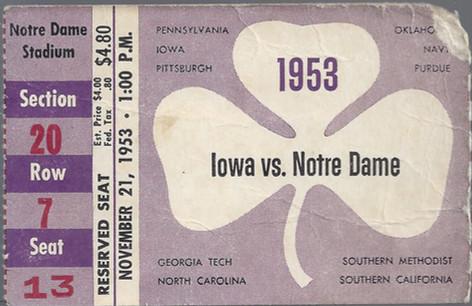 1953 @ Notre Dame Ticket