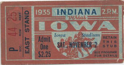 1935 Indiana Ticket