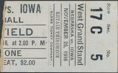 1916 Nebraska Ticket
