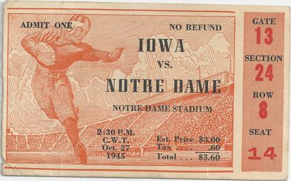1945 @ Notre Dame Ticket