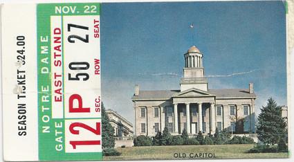 1958 Notre Dame Ticket