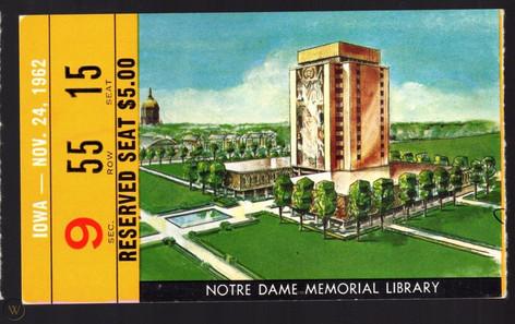 1962 @ Notre Dame Ticket