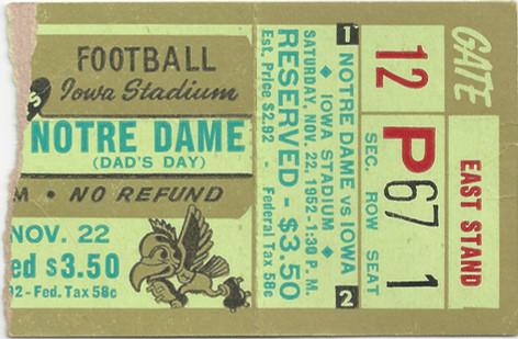 1952 Notre Dame Ticket