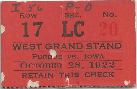 1922 Purdue Ticket