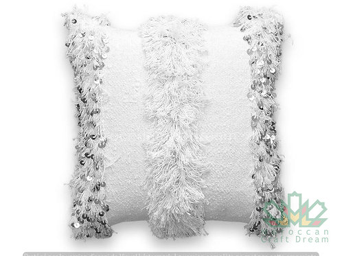 Moroccan Wedding Pillow Throw 40cm x 40cm, White Sequin Berber Cushion White