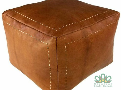 LUXURY LEATHER SQUARE OTTOMAN LIGHT CARAMEL SP2CR (WITH STITCHING)
