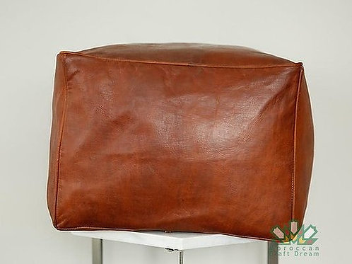 SMALL LUXURY LEATHER SQUARE OTTOMAN LIGHT TAN SP1TA
