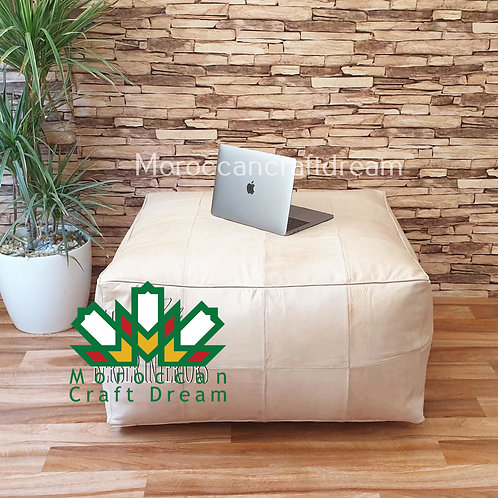 WHITE LARGE SQUARE/RECTANGULAR LUXURY LEATHER OTTOMAN LSP1WH