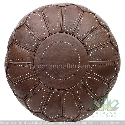 LUXURY LEATHER OTTOMAN CHOCOLATE WITHOUT STAR STITCHING RP5CH
