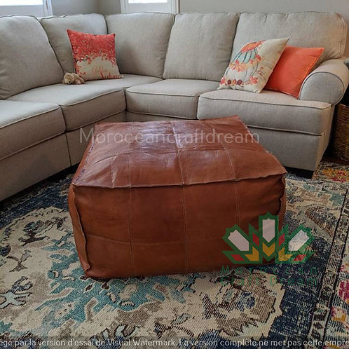 TAN LARGE SQUARE/RECTANGULAR LUXURY LEATHER OTTOMAN LSP1TA