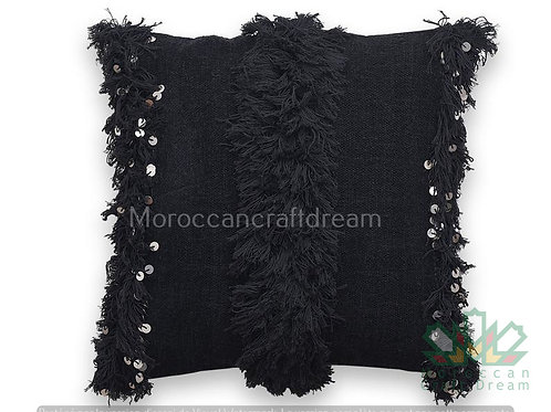 Moroccan Wedding Pillow Throw 40cm x 40cm, White Sequin Berber Cushion Black