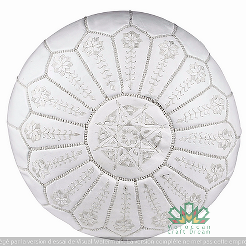 LUXURY LEATHER EMBROIDERED OTTOMAN WHITE WITH WHITE  STITCHING EP1WH