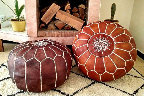 SET OF 2 LUXURY LEATHER POUFS TAN & LIGHT TAN RP1TA RP2TA