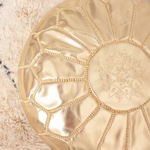 LUXURY LEATHER OTTOMAN GOLD RP1GL