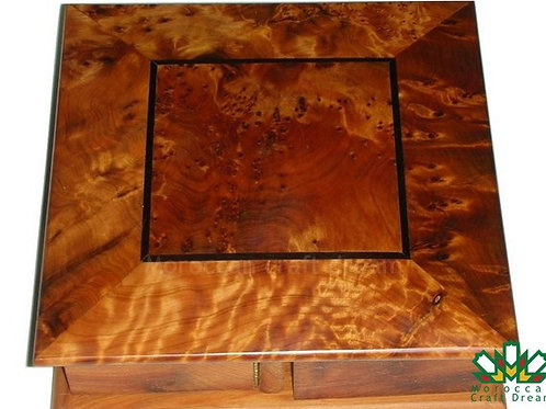 Decorative Thuja wooden jewelry box made of Moroccan handmade square sh