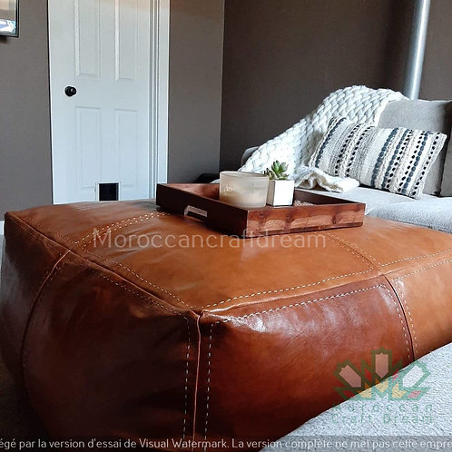 TAN LARGE SQUARE/RECTANGULAR LUXURY LEATHER OTTOMAN LSP1BR