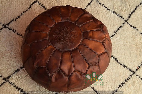 LUXURY LEATHER OTTOMAN TAN WITH BROWN STITCHING RP2BR