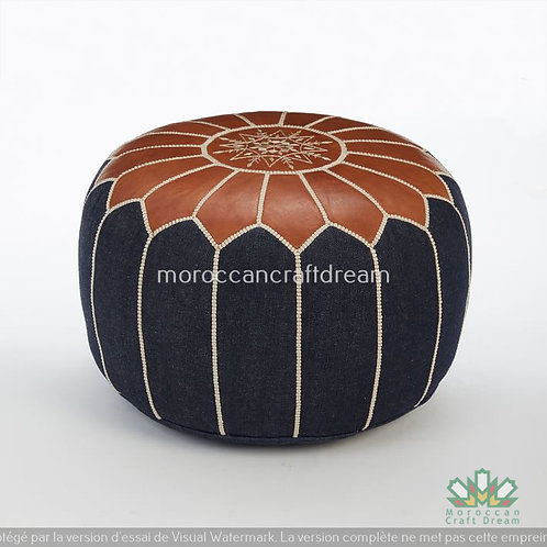 LUXURY LEATHER/DENIM OTTOMAN BLUE DP2BU