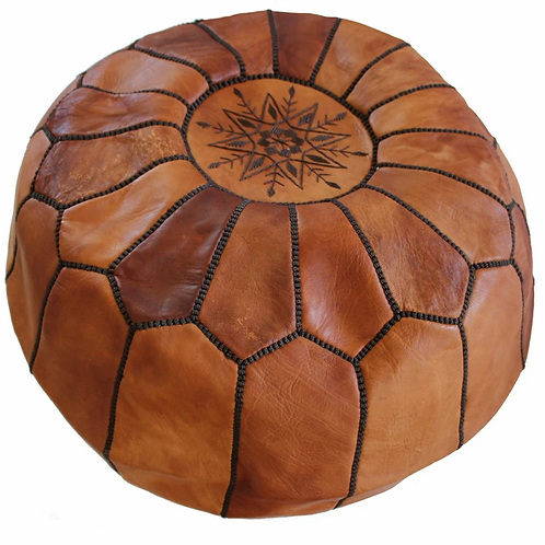 EXTRA LARGE TAN ROUND LEATHER POUF WITH BLACK STITCHING LR3TA