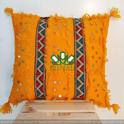Moroccan Wedding Blanket Pillow Handira Yellow