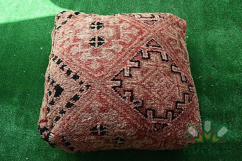 VINTAGE ORANGE KILIM POUF KP2OR