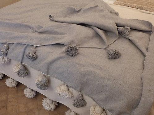 Moroccan Blanket throw Pom Pom, Grey MB1GR
