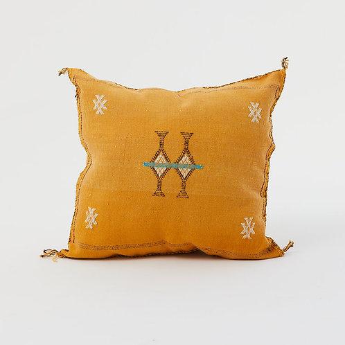 Yellow Moroccan Cactus Silk Sabra Pillow
