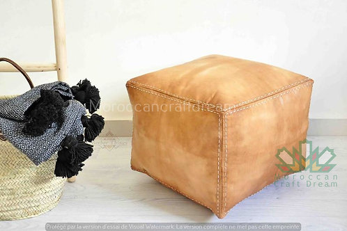 SMALL LUXURY LEATHER SQUARE OTTOMAN LIGHT CARAMEL SP3LC