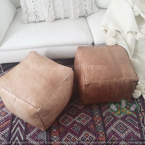 SET OF 2 LUXURY LEATHER SQUARE OTTOMAN LIGHT & DARK NATURAL SP1NA SP 3NA