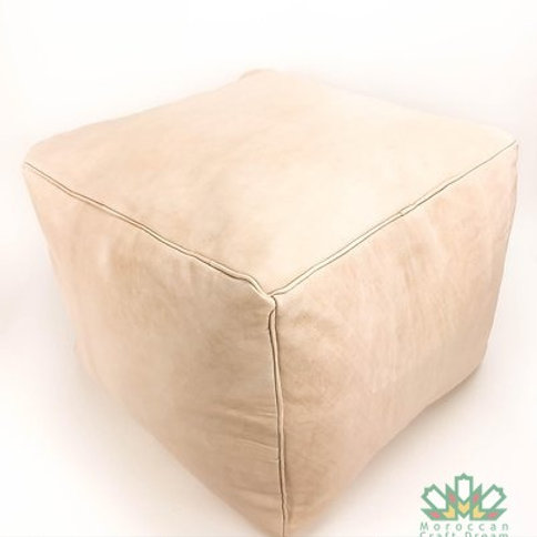 LUXURY LEATHER SQUARE OTTOMAN LIGHT NATURAL SP1NU