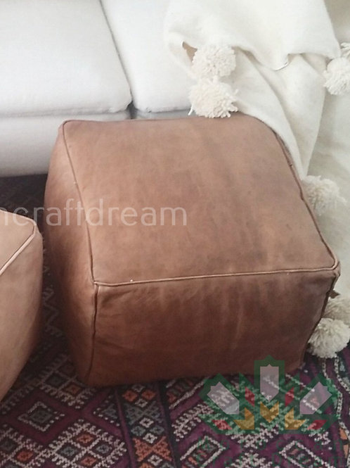 LUXURY LEATHER SQUARE OTTOMAN DARK NATURAL SP4NA (WITH STITCHING)