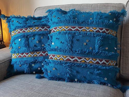 Moroccan Wedding Blanket Pillow Handira Blue