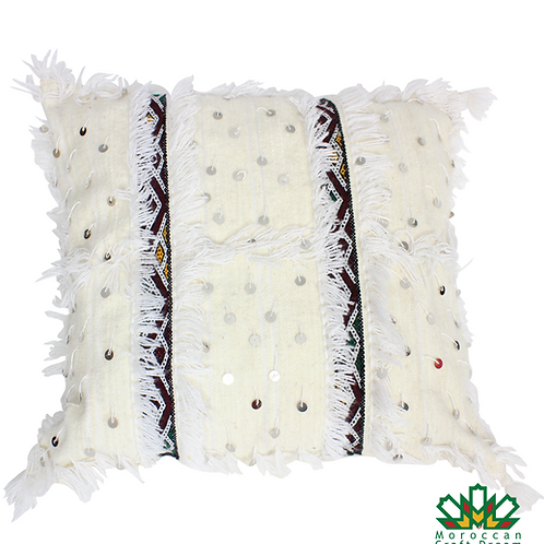Moroccan Wedding Blanket Pillow Handira White 1