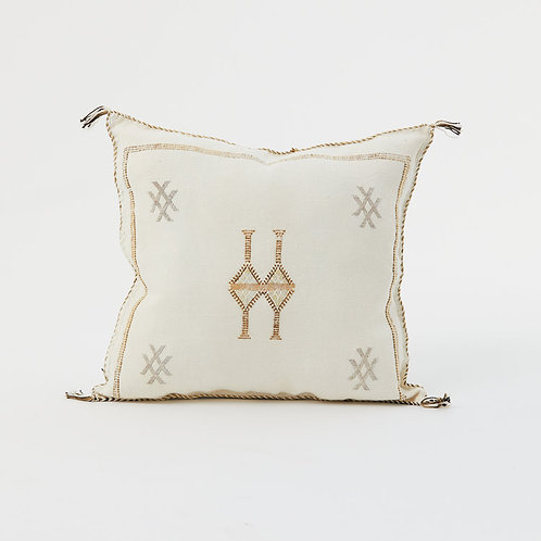 White Moroccan Cactus Silk Sabra Pillow