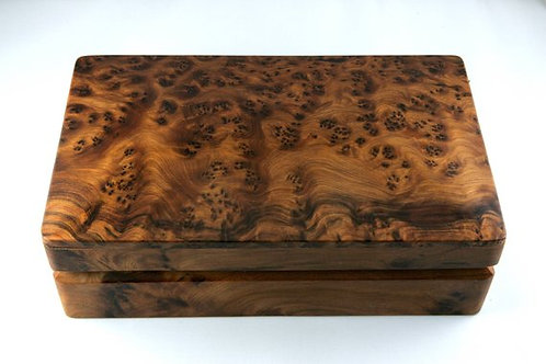 THUYA BURL LARGE RECTANGLE HINGED BOX