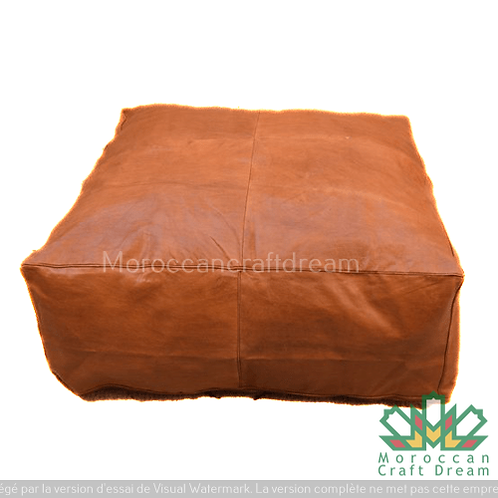 LARGE SIZES: SQUARE/RECTANGULAR LUXURY LEATHER POUF SIMPLE WITH NORMAL PATTERNS