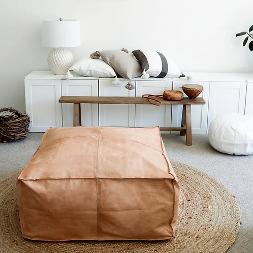 LIGHT CARAMEL WITH LUMINOUS EFFECT LARGE SQUARE & RECTAN LEATHER OTTOMAN LSP3LCR